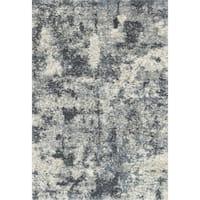 "Contemporary Grey/ Light Blue Abstract Shag Rug - 8'10"" x 12'"
