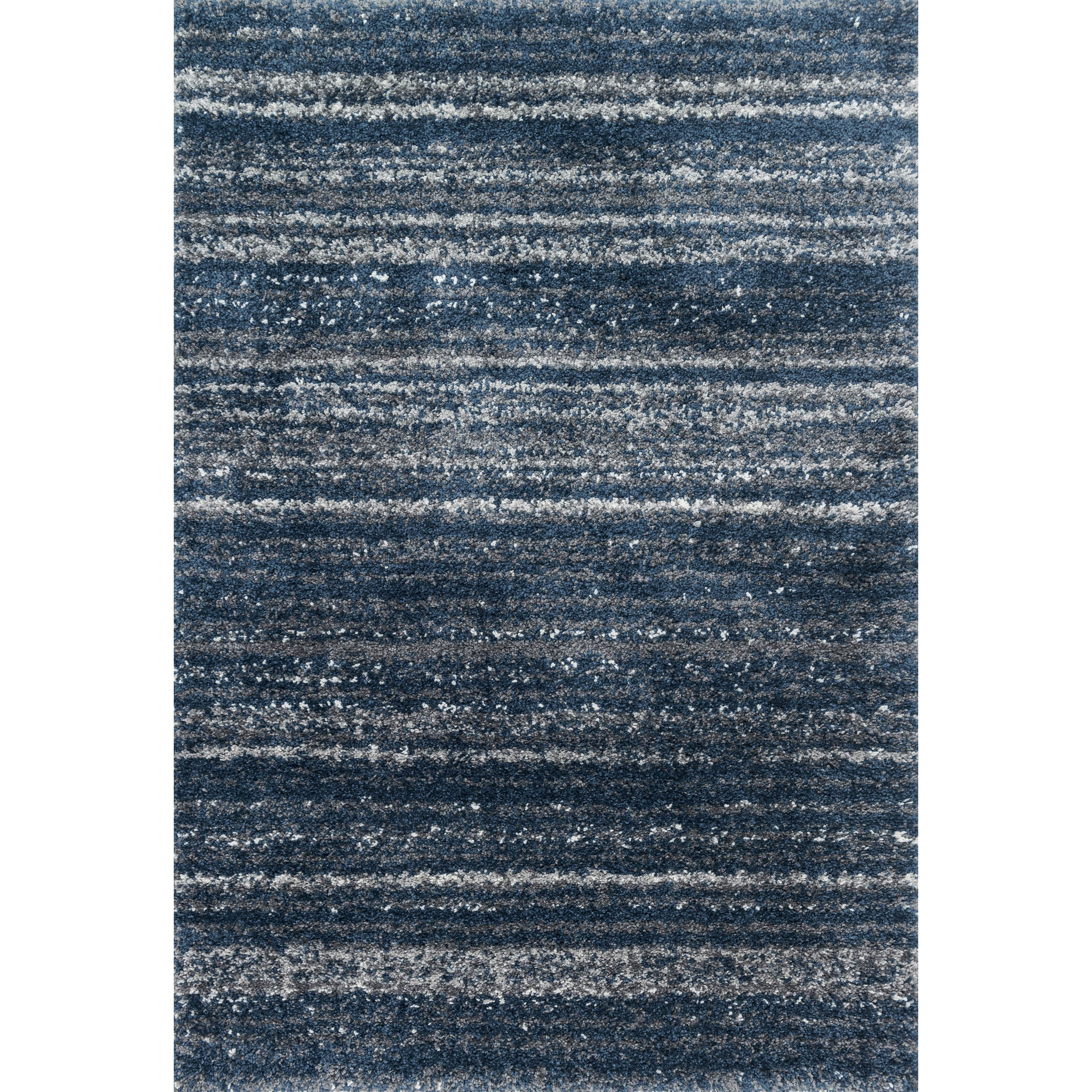 Contemporary Navy Blue Abstract Shag Rug - 810 x 12 (Navy/Pewter - 810 x 12)