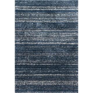 Contemporary Navy Blue Abstract Shag Rug - 3'3 x 5'7