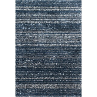 Contemporary Navy Blue Abstract Shag Rug - 2'3 x 4'