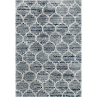 "Contemporary Blue/ Grey Trellis Moroccan Shag Rug - 8'10"" x 12'"