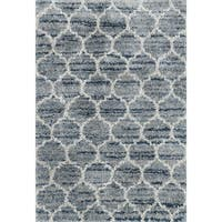 "Contemporary Blue/ Grey Trellis Moroccan Shag Rug - 8' 10"" x 12'"
