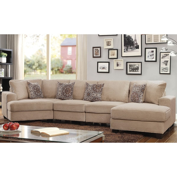 Furniture Of America Barrington Contemporary Beige Corduroy Sectional Sofa