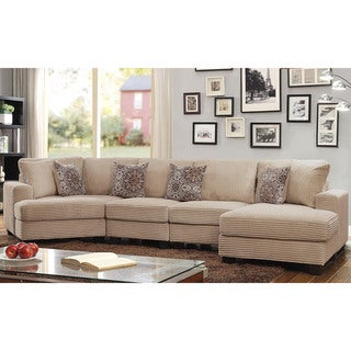 Amazing Furniture Of America Barrington Contemporary Beige Corduroy Sectional Sofa