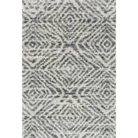"""Contemporary Grey/ Beige Geometric Moroccan Shag Rug - 7'10"""" x 10'10"""""""
