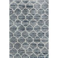 "Contemporary Blue/ Grey Trellis Moroccan Shag Rug - 7'10"" x 10'10"""