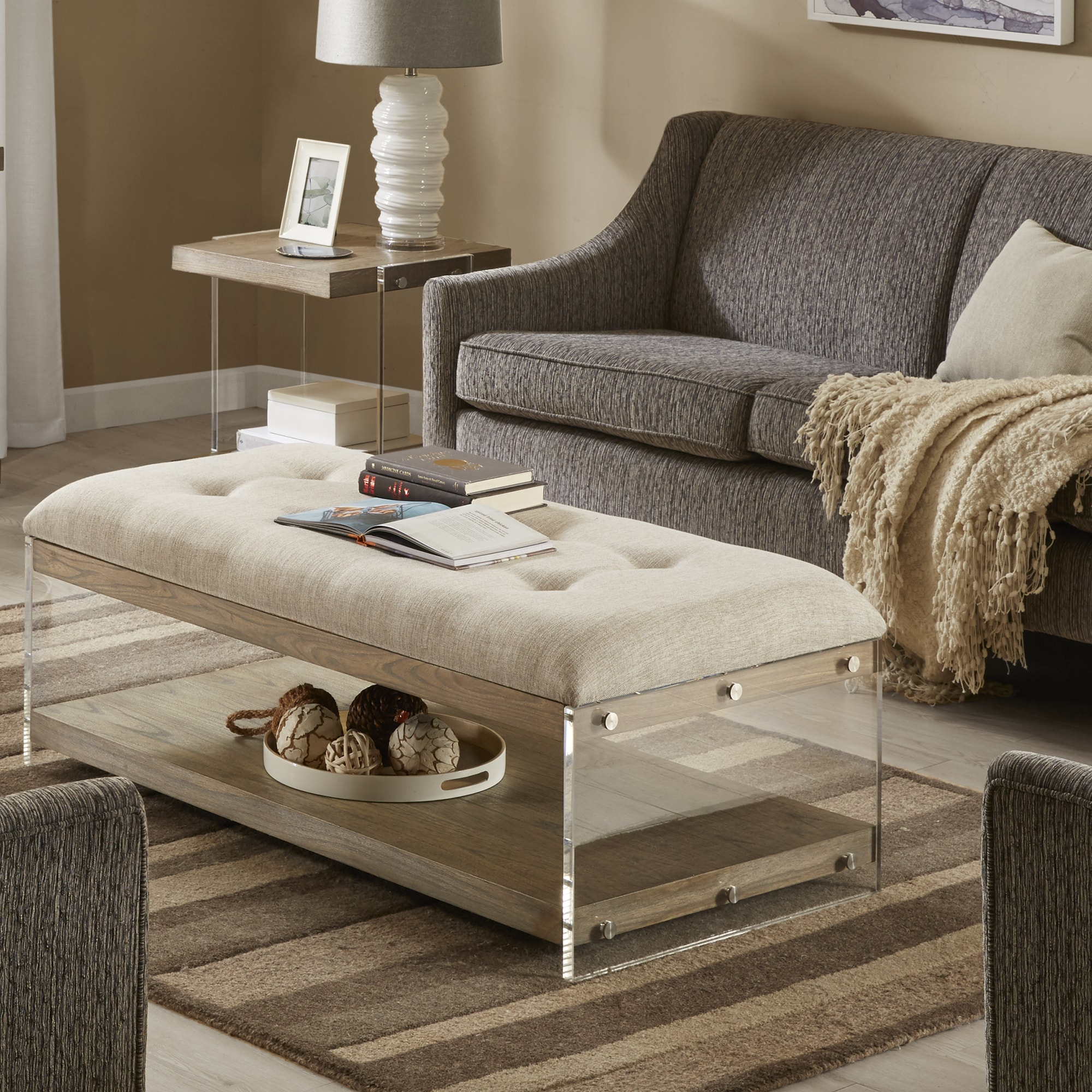 Madison Park Madrona Cream Rectangle Upholstered Coffee Table