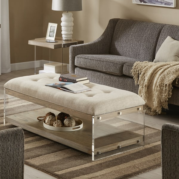 Shop Madison Park Madrona Cream Rectangle Upholstered Coffee Table