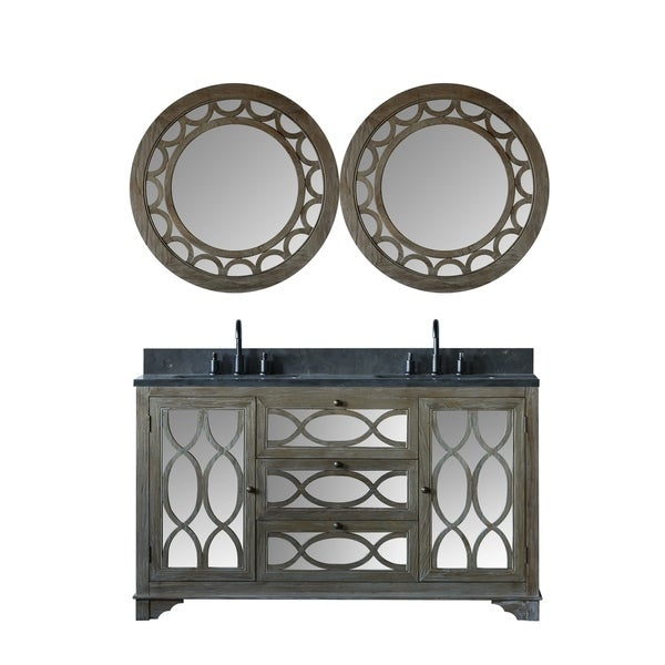 Legion Furniture 60 in. Bathroom Vanity in Brushed Natural with Moon Stone Top with two mirrors