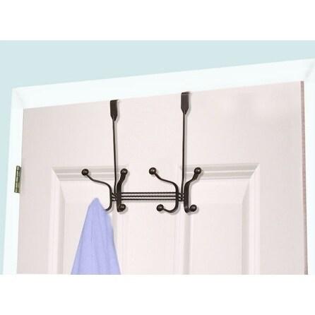 Home Basics Bronze 4-hook Over The Door Hanging Rack