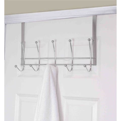 Home Basics Chrome Steel 5-hook Over The Door Hanging Rack