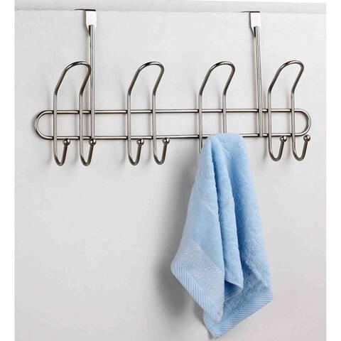 Home Basics Satin Nickel 8-hook Over The Door Hanging Rack
