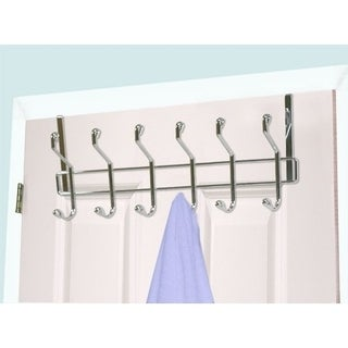 Home Basics Chrome Steel 6-hook Over The Door Hanging Rack
