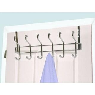 Home Basics Chrome Steel 6-hook Over The Door Hanging Rack