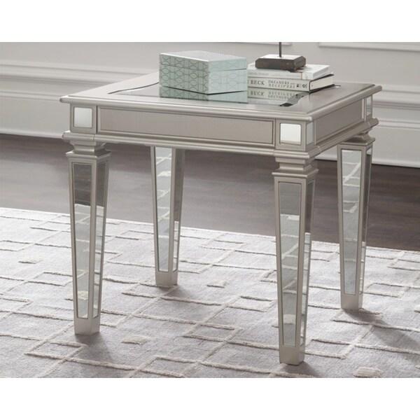 Tessani Contemporary Silver End Table