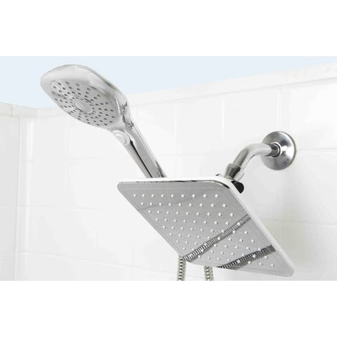 Sunbeam Chrome Plated Steel Dual Rainfall Shower Massager