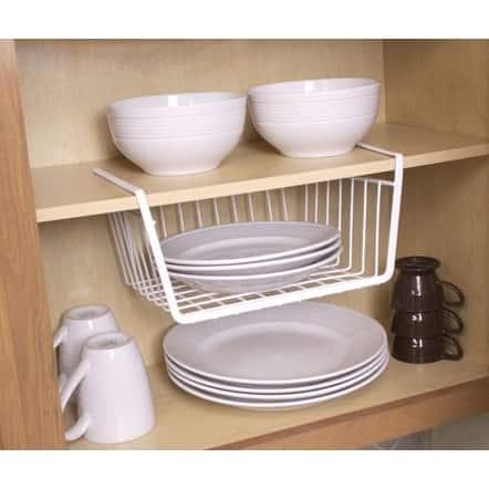 Home Basics White Vinyl Coated Steel Small Undershelf Basket