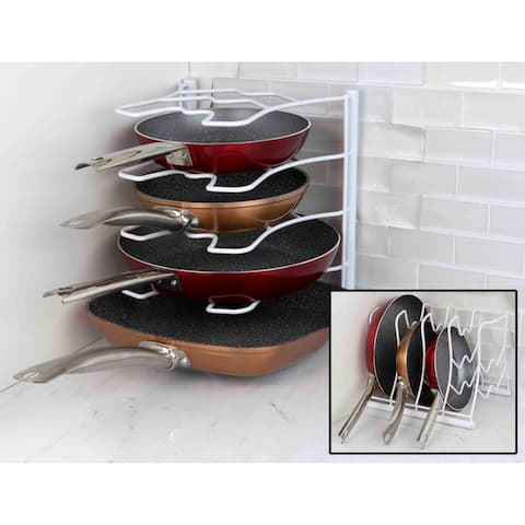 Home Basics White Wall/Cabinet Pan Organizer