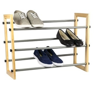 Sunbeam Natural Wood Panel 3-tier Expandable Shoe Rack