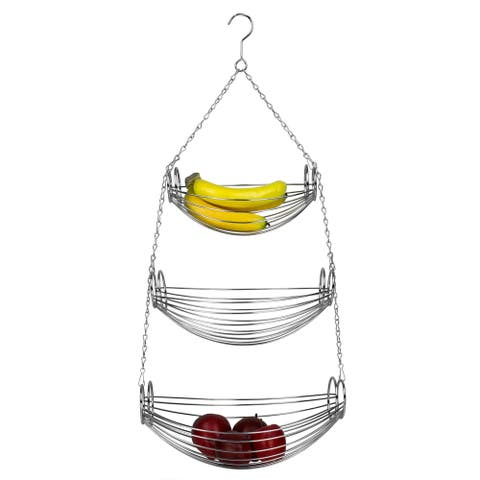 Home Basics Chrome 3-tier Oval Hanging Basket