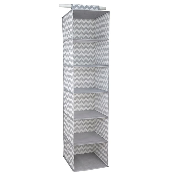Home Basics Grey Chevron 6 Shelf Closet Organizer