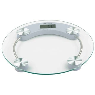 Home Basics Clear and Chrome Glass Round Bathroom Digital Scale