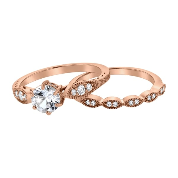 14K Rose Gold 1 1/5 ct Created White Sapphire and Diamonds Vintage Inspired Engagement Set