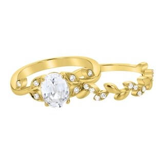 14K Yellow Gold 1 4/5 ct Created White Sapphire and Diamonds Floral Engagement Set
