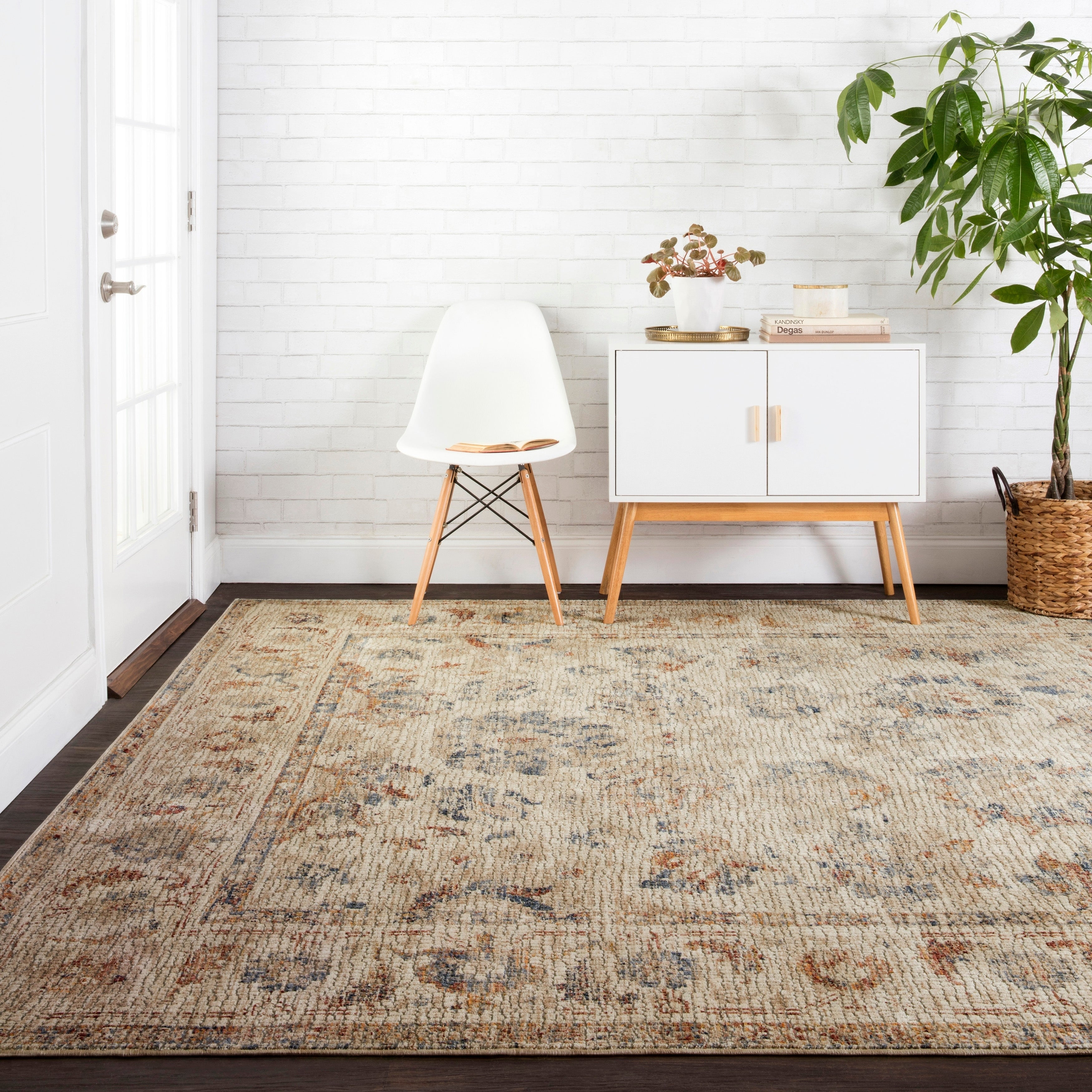 Traditional Antique Beige/ Multi Mosaic Floral Rug - 67 x 94 (67 x 94 - Natural/Natural)