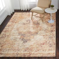 Traditional Antique Ivory/ Beige Distressed Moasic Rug - 6'7 x 9'4