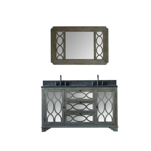 Legion Furniture 60 in. Bathroom Vanity in Brushed Natural with Moon Stone Top and Mirror