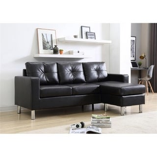 Small Space Black Convertible Sectional Sofa