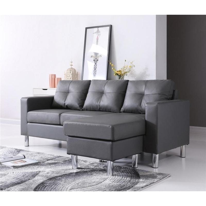 Porch & Den Ropson Small Space Grey Convertible Sectional Sofa ...
