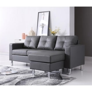 Small Space Gray Convertible Sectional Sofa
