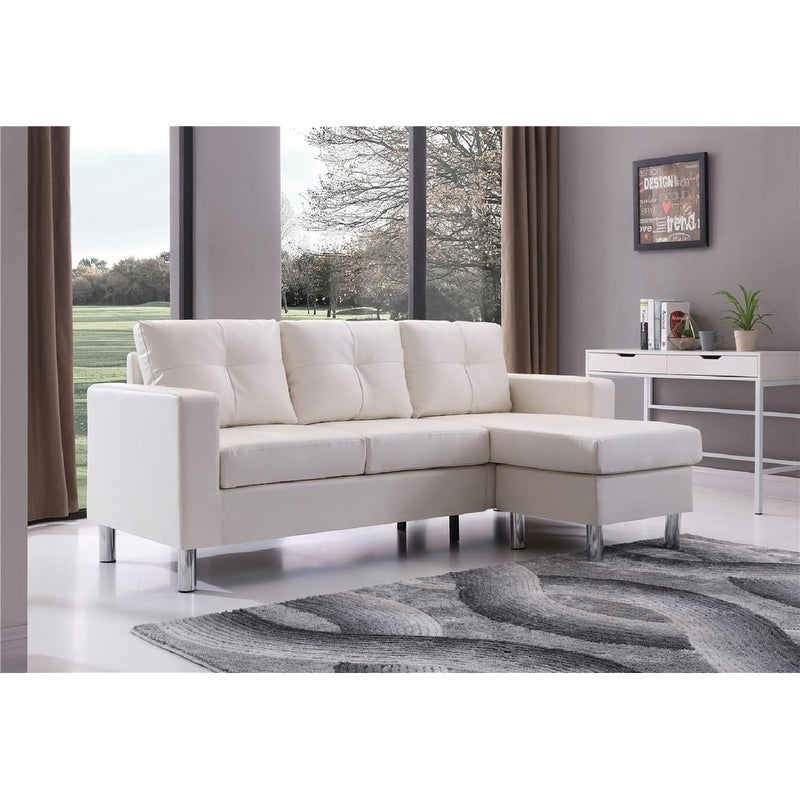 Small E White Convertible Sectional Sofa