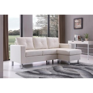 Porch & Den Bay View Ropson Small Space White Convertible Sectional Sofa