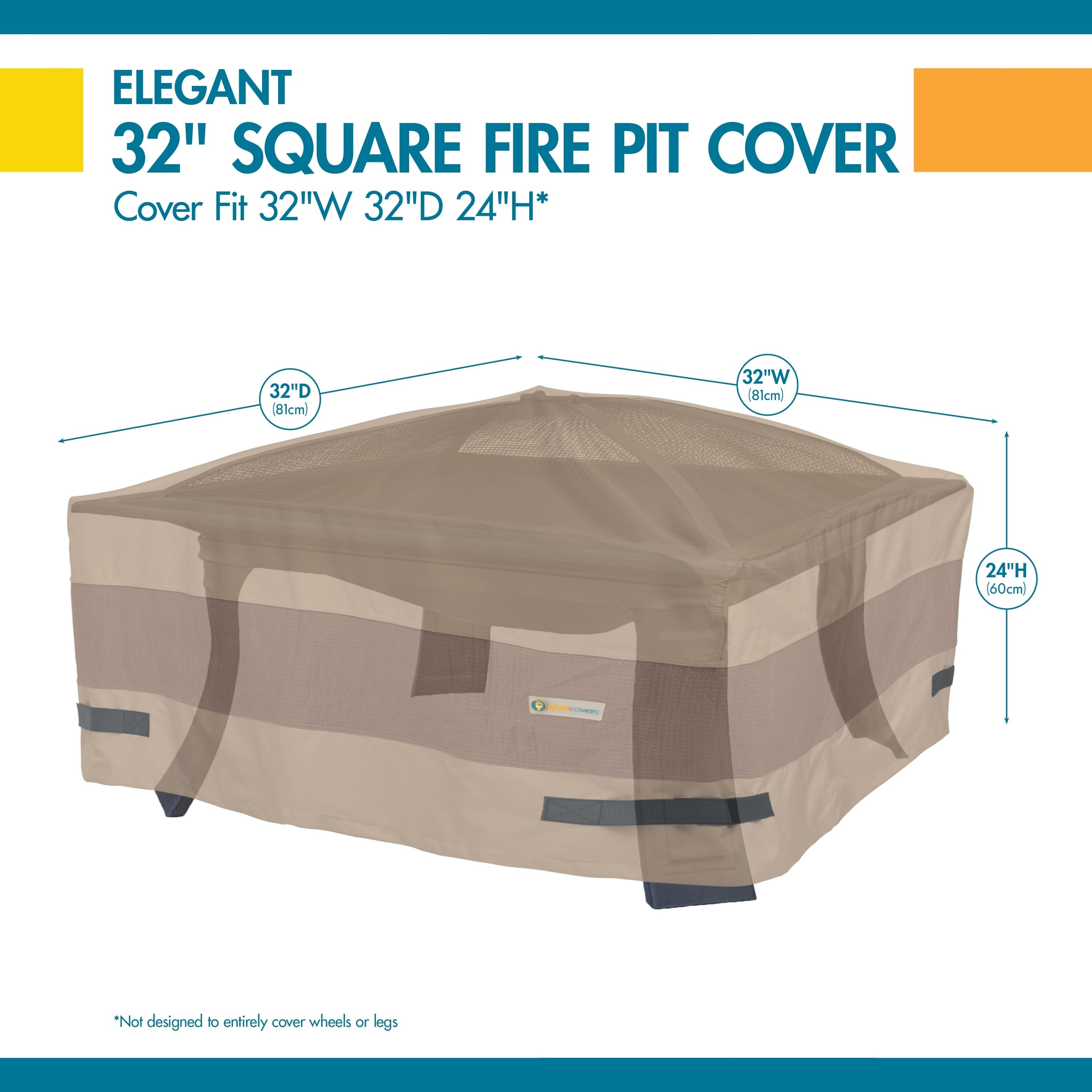 32-Inch Duck Covers Elite Square Fire Pit Cover
