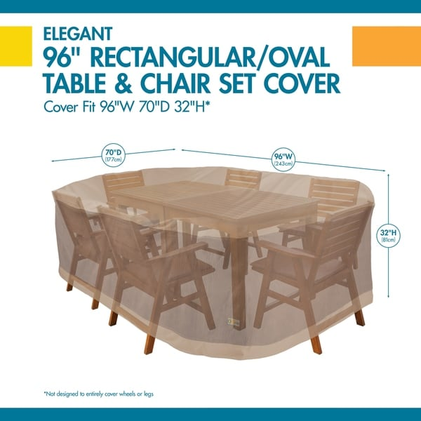 Duck Covers Elegant Rectangle Patio Table with Chairs Cover