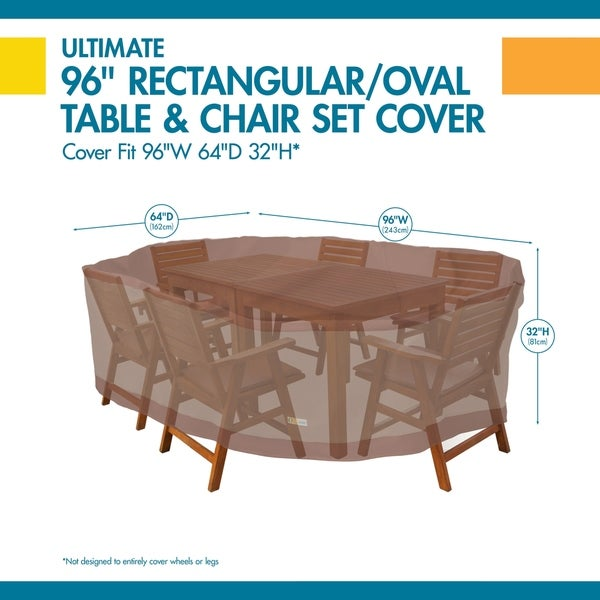 Duck Covers Ultimate Rectangle Patio Table with Chairs Cover