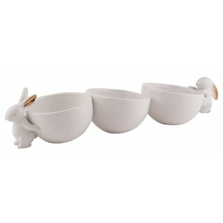 "Dolomite Gold Accent Bunny Snack Bowls - 14"" x 4"" x 3.25"""