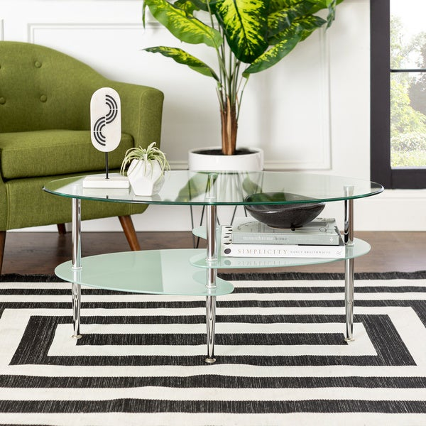 """Porch & Den Toston Modern Frosted Glass 38"""" Coffee Table - 38 x 20 x 17h"""