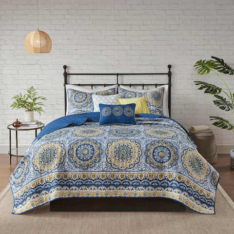 Madison Park Moraga Blue Coverlet Set