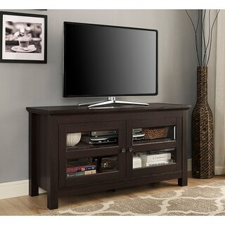 Porch & Den Hardy 44-inch Espresso Wood TV Stand Console with Glass Doors