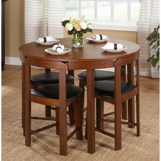 leather dining room set dark brown harrisburg 5piece tobey compact round dining set buy faux leather kitchen room sets online at overstockcom
