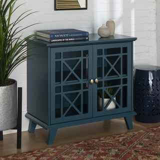 Copper Grove Loches 32-inch Blue Fretwork Entryway Cabinet