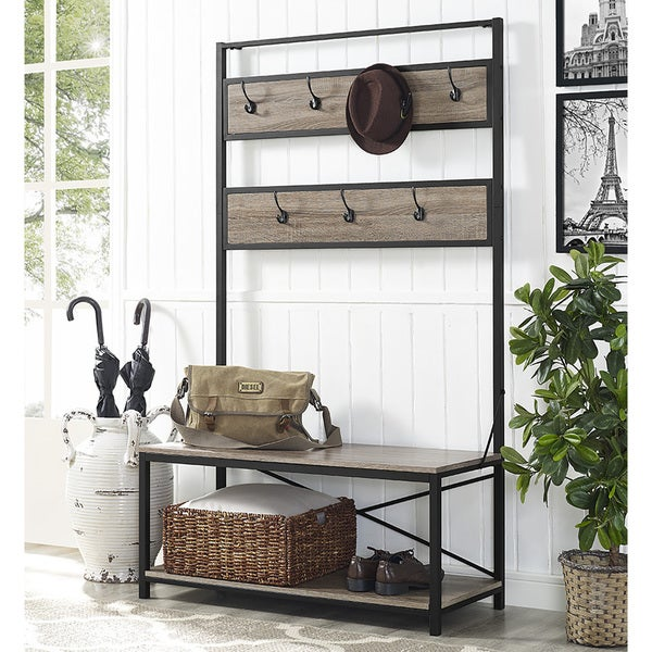 Carbon Loft Geller 72-inch Industrial Metal and Driftwood Wood Hall Tree