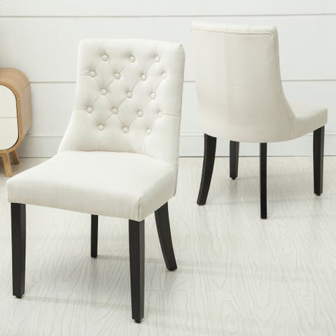 Copper Grove Coldspring Linen/Wooden Roll-top Tufted Dining Chair (Set of 2)