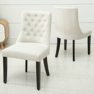 Copper Grove Coldspring Linen/Wooden Roll-top Tufted Dining Chair (Set of 2) (5 options available)