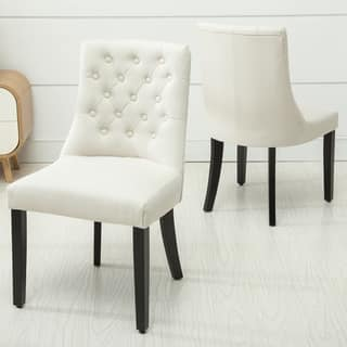 Copper Grove Coldspring Linen Wooden Roll Top Tufted Dining Chair Set Of 2