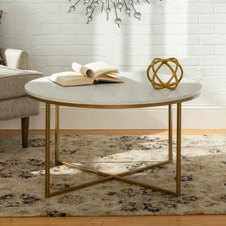 Silver Orchid Helbling 36-inch Round Coffee Table, Gold Metal X-base, for Living Room